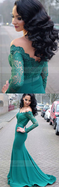 Lace Long Sleeves Mermaid Prom Dresses Off The Shoulder Evening Gowns,BD99623