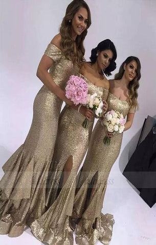 Sequin Off The Shoulder Prom Gown,Mermaid Prom Dress,Side Slit Formal Gown Layered Skirt,BD98300