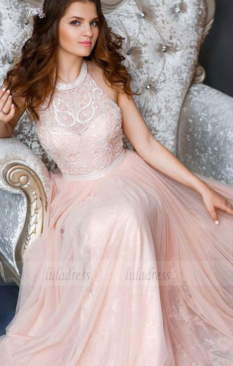 long prom dress, halter pink long prom dress, party dress, formal evening dress,BD98690