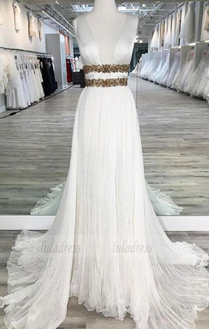 White V Neck Chiffon  Long  Prom Dress,  Evening Dresses,BD98068