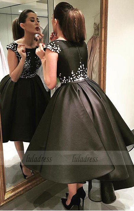 Satin Homecoming Dresses,Short Prom Gown,Black Homecoming Gowns,BD99374