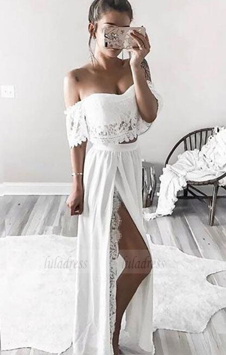 two piece long prom dresses,off the shoulder formal dresses,BD98726