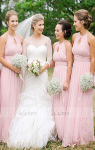 Pink Long Bridesmaid Dress, Pink Long Bridesmaid Dress with Key Hole,BD99480