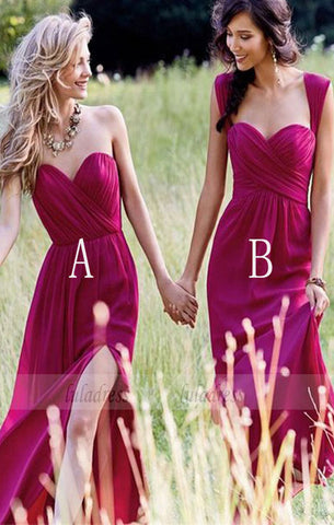 Cheap Simple Formal Chiffon Bridesmaid Dress,Side Split Floor Length Custom Bridesmaid Dresses,BD99526