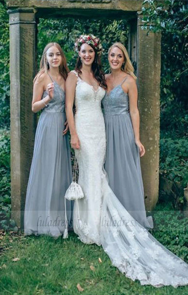A-Line Spaghetti Straps Grey Bridesmaid Dress with Beading Lace,BD99643