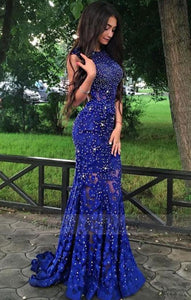 Lace Party Dresses,Beaded Evening Gowns,Long Formal Dress For Teens,BD98404