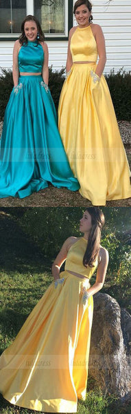 Two Piece Round Neck Yellow Satin Prom Dress,BD98575