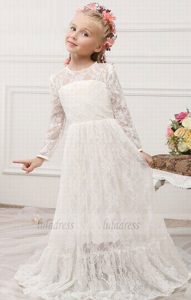 Lace Flower Girl Dresses Sheer Jewel Long Sleeves Cute Floor Length Girls First Communion Dresses,BD99592