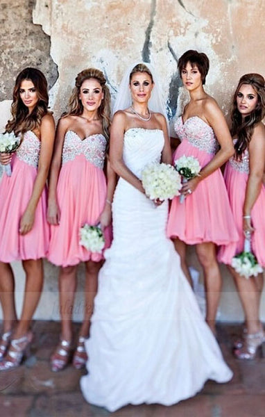 Pink Bridesmaid Dresses,Short Bridesmaid Gown,Summer Bridesmaid Gowns,Beach Bridesmaid Dress, BD98313