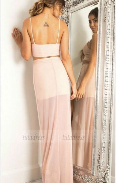 Simple V Neck Chiffon Long Prom Dress,BD98072