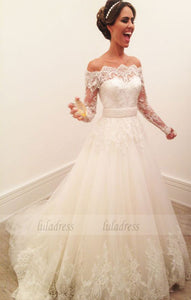 Elegant Wedding Dress, Ivory Wedding Dress, Lace Applique Wedding Dress,BD99605