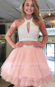 Two Piece Halter Backless Above-Knee Pink Tiered Homecoming Dress with Beading,BD99625