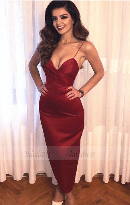 Spaghetti Straps Ruched Sweetheart Sheath Bridesmaid Dresses Ankle-Length,BD99644