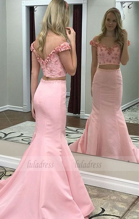 Two Piece Off-the-Shoulder Prom Dress with Appliques Beading,BD99552
