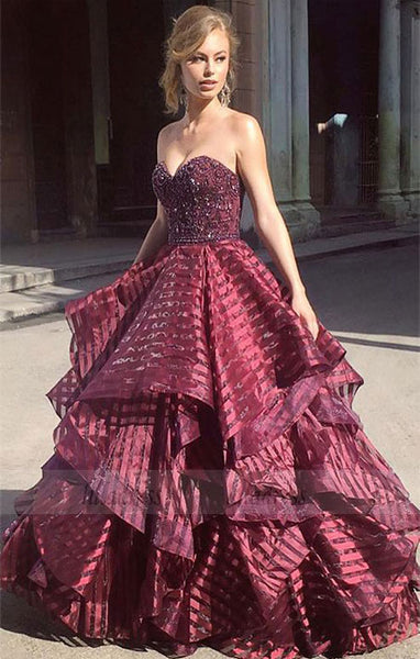 Charming Ball Gown Sweetheart Strapless Burgundy Long Prom Dress,BD98572