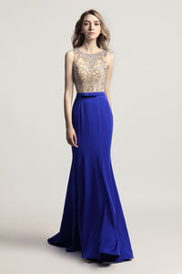 Royal Blue Elegant Long Evening Dress Beading Prom Dress, LX414