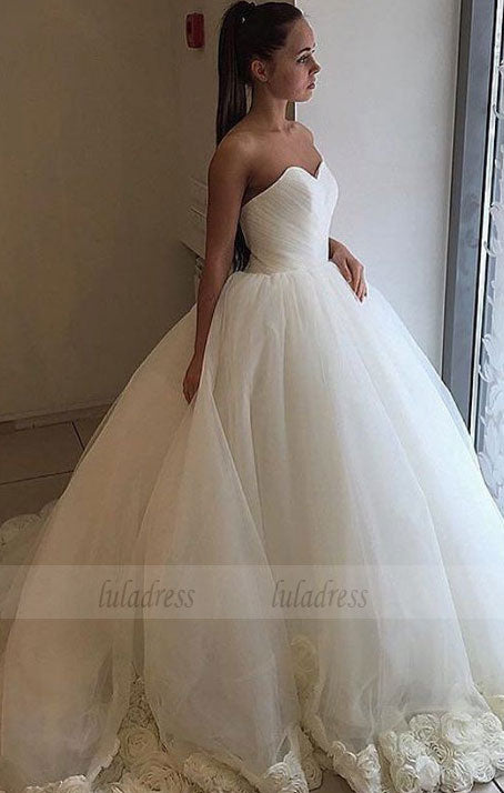 Flowers Ball Gown Bridal Dress Sweetheart Wedding Dress with Train,BD99626