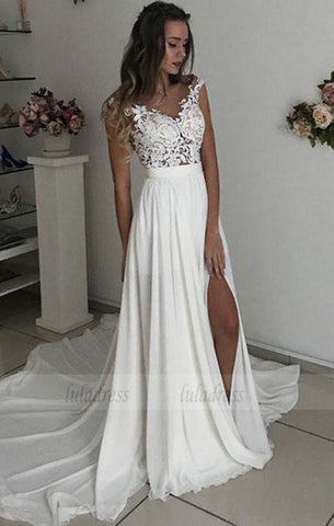 White V Neck Lace Tulle Long Prom Dress, Wedding Dress,BD98084