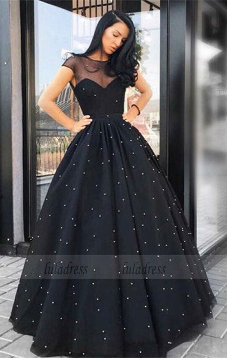 A-Line Round Neck Floor-Length Black Tulle Prom Dress with Pearls,BD98669
