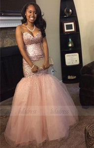 Sequins Mermaid Sweetheart Gorgeous Sleeveless Tulle Prom Dresses,BD99907
