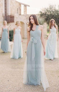 Custom Made Convertible Tulle Long A-Line Evening Dress, Prom Dresses, Bridesmaid Dresses, Bridal Collection,BD98287