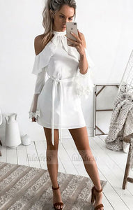 Long Sleeves White Short Homecoming Dress with Ruffles Sash,BD99491