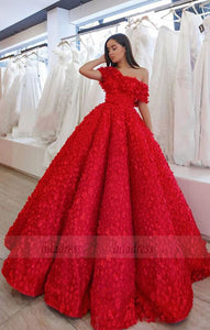 A-Line Off the Shoulder Floor-Length Red Lace Prom Dress with Appliques,BD98668