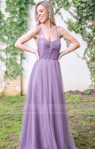 Long Bridesmaid Dress, Sleeveless Bridesmaid Dress, Tulle Bridesmaid Dress,BD98914