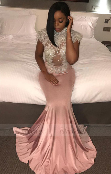 Mermaid Prom Dress Shiny Beaded Sequins Cap Sleeves Evening Gowns,BD99908