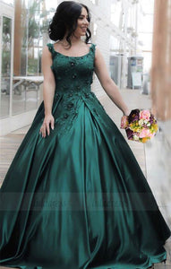 Hunter Green Lace Flowers Embroidery Satin Ball Gowns,BD99645