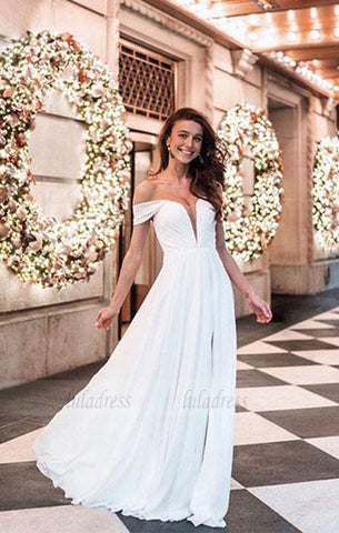 Simple White  Chiffon Long Prom Dress,Homecoming Dress,BD98081
