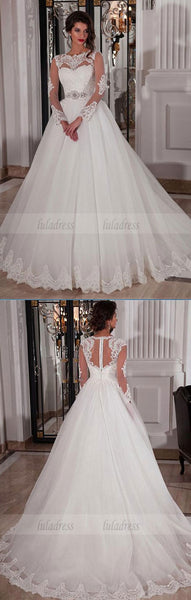 Long Sleeves Ivory Bridal Dress,BD99627
