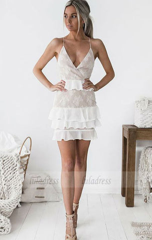 V-Neck Criss-Cross Straps Short White Chiffon Homecoming Cocktail Dress,BD99511