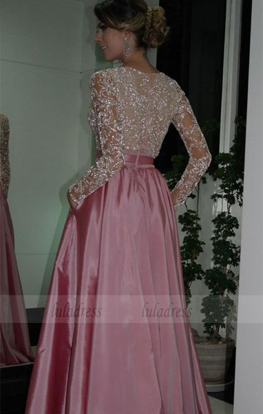 V-neck Beading Long Formal Prom Dresses with Pockets,BD99873