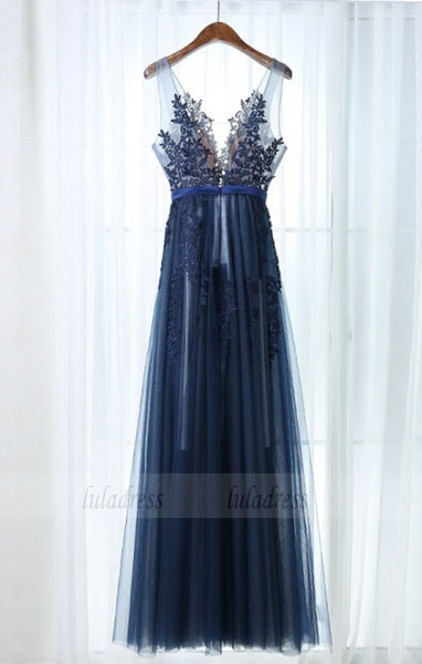 A-Line Scoop Floor-Length Navy Blue Tulle Prom Dress with Sash Appliques,BD98971