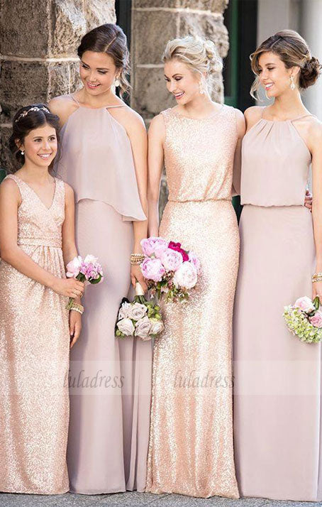 Cheap Mismatched Dark Gold Sequin Long Bridesmaid Dresses, Affordable Unique Custom Long Bridesmaid Dresses,BD99542
