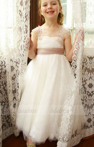 A-Line Jewel Floor-Length White Tulle Flower Girl Dress with Flowers,BD99832