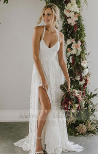 white v neck long wedding dress, lace wedding dresses,BD99581