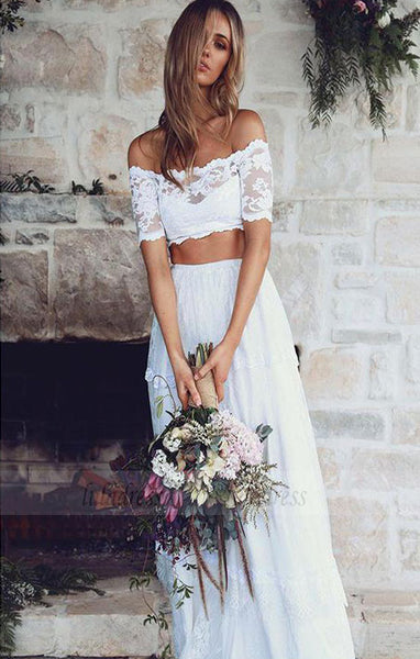 Two Piece Wedding Dress,Beach Wedding Dress,Lace Wedding Dress,BD99795
