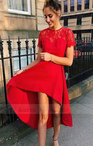 High Low Homecoming Dress,Homecoming Dress with Sleeves,BD99821