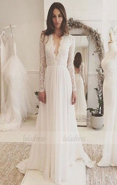 Sexy Chiffon Long Sleeve Wedding Dress,Lace V-neck Sweep Train Bridal Gown,BD99008