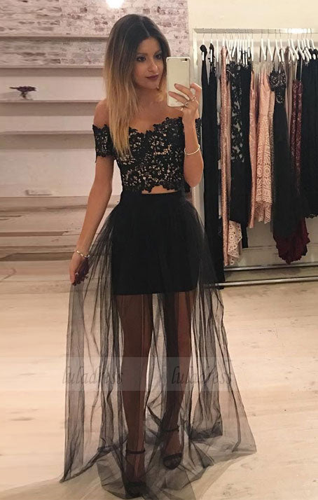 Off-Shoulder Black Tulle 2 Piece Prom Long Dress with Lace,BD98516