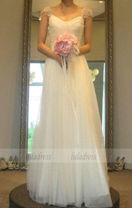 Wedding Dress With Cap Sleeves,White Brides Dress,Chic Wedding Gowns,BD99317