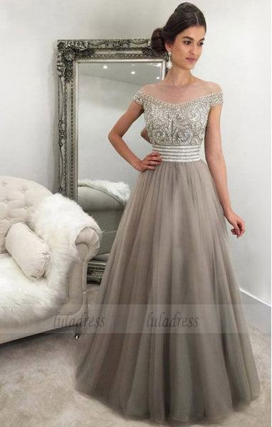 Off-the-Shoulder Floor-Length Light Grey Tulle Prom Dress with Beading,BD99083