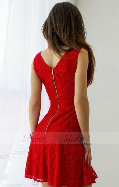 Red Homecoming Dress,Lace Homecoming Dresses,Short Homecoming Dresses,Cheap Cocktail Dresses,Short Prom Dress,BD98056