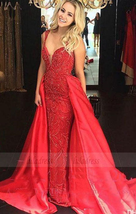 elegant prom dresses with beading, luxury a line sweep train evening gowns,BD98769