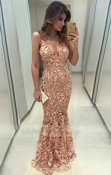 mermaid prom dresses, elegant sheer tulle evening gowns with appliques, modest party dresses with lace,BD98752
