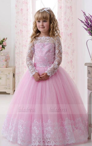 Lace Long Sleeves Ball Gown Pink Flower Girl Dresses,BD99750