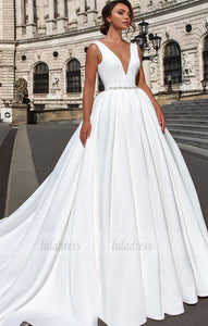 deep v-neck white long wedding dress,BD99583
