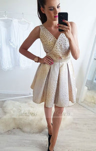 A-Line V-Neck Above-Knee Homecoming Dress with Beading Pleats,BD99483